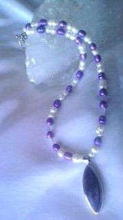Charoite with Quartz and Pearls