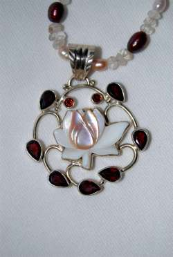 Garnet with Mother of Pearl, Clear Quartz Pearls